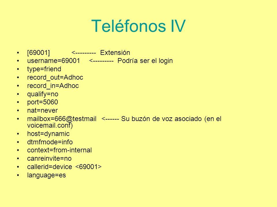 Teléfonos IV [69001] <--------- Extensión